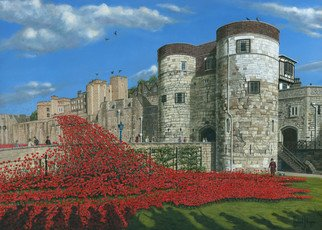 Richard Harpum; Tower Of London Poppies B..., 2016, Original Printmaking Giclee, 70 x 50 inches. Artwork description: 241  This painting of the Tower of London was a commission for an existing client and used photographic references supplied by her. It shows the massive art installation aEURoeBlood Swept Lands and Seas of RedaEUR, which was installed to mark one hundred years since the first full day ...