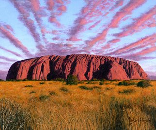 Richard Harpum; Uluru Sunset Ayers Rock, ..., 2014, Original Painting Acrylic, 12 x 10 inches. Artwork description: 241  My family and I visited Uluru ( Ayers Rock) in December 2000, as part of a wonderful vacation of Australia. It is one of the largest monoliths in the world. Made of arkosic sandstone, Uluru rises 1,142 ft ( 348 metres) above the desert floor and has a ...