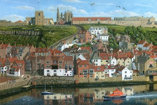 Richard Harpum; Whitby Harbour North Yorkshire, 2016, Original Painting Acrylic, 30 x 20 inches. Artwork description: 241  This painting of Whitby Harbour in North Yorkshire, England, was a commission for Falcon Jigsaw Puzzles. The painting shows the ruins of Whitby Abbey on the top of the east cliff, along with the interesting St MaryaEURtms Church. These are reached by 101 steps at the ...