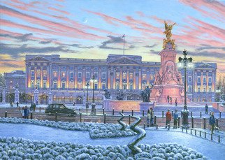 Richard Harpum; Winter Lights, Buckingham..., 2013, Original Painting Acrylic, 16 x 20 inches. Artwork description: 241  Buckingham Palace has served as the official London residence of Britain's sovereigns since 1837 and today is very much a working building, being the centrepiece and administrative headquarters of Her Majesty, Queen Elizabeth. Located in the City of Westminster, the Palace is huge with 775 rooms, ...