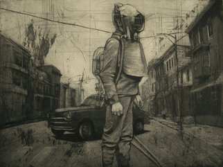 Rachel E Heberling; Auto Graph, 2009, Original Printmaking Intaglio, 23.8 x 17.5 inches. Artwork description: 241  Miner in middle of street wearing respiration gear. Location is small coal town in Pennsylvania with coal region maps layered underneath. ...