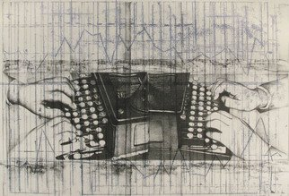 Rachel E Heberling; Errors Are Prevented Inst..., 2009, Original Printmaking Lithography, 27 x 18 inches. Artwork description: 241  Stone and plate color lithograph depicting graphs of typewriting contests and studies.  ...