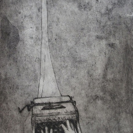 Artist: Rachel E Heberling, title: Strained Connection, 2011, Original Printmaking Etching