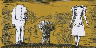 Rachel E Heberling; The Offering, 2013, Original Printmaking Serigraph, 12 x 6 inches. Artwork description: 241  Screenprint of two figures in front of landscape  ...