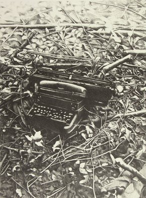 Rachel E Heberling; Under Wood, 2005, Original Printmaking Lithography, 12 x 16 inches. Artwork description: 241  Stone Lithograph of Royal typewriter found outside of abandoned factory. ...