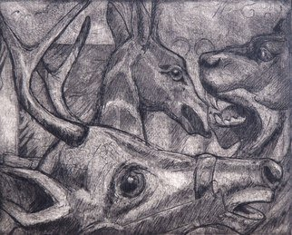 Rachel E Heberling; Wooden Zoo, 2012, Original Printmaking Intaglio, 6 x 4.8 inches. Artwork description: 241   Etching and mezzotint of carousel animals on steel plate  ...