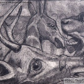Artist: Rachel E Heberling, title: Wooden Zoo, 2012, Original Printmaking Intaglio