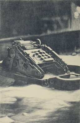 Rachel E Heberling; Zero Sum, 2007, Original Printmaking Lithography, 17.5 x 23.8 inches. Artwork description: 241  Image of old adding machine from office of abandoned coal breaker. Hand- drawn stone lithograph. ...