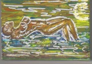 Richi Gonzalez; She Is At The Beach, 2010, Original Painting Tempera, 4.5 x 6 cm. Artwork description: 241     Painted Over Small Matches Boxes     ...
