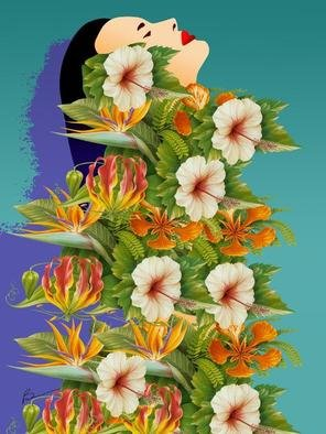 Richard Brown; FLOWER WOMAN, 2012, Original Digital Art, 30 x 40 inches. Artwork description: 241    30x40 digital airbrush painting on canvas      ...