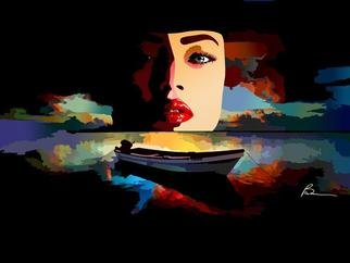 Richard Brown; WOMAN IN LAKE, 2011, Original Digital Art, 60 x 40 inches. Artwork description: 241           40x60 digital airbrush painting on canvas               ...