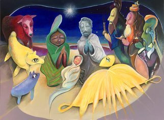 Rick Borgia; Silent Night, 2019, Original Painting, 48 x 36 inches. Artwork description: 241 Inventive, colorful, anima- tivity in tribute to the greatest story ever told, a two dimensional diorama. ...