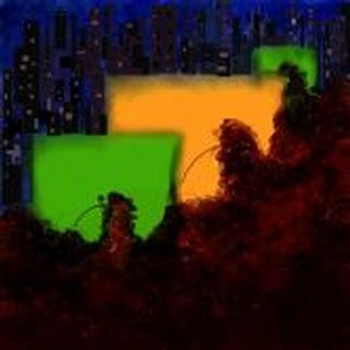 Rick Chinelli; 911 911, 2001, Original Digital Painting, 12 x 12 inches.