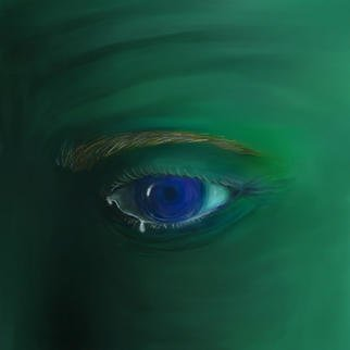 Rick Chinelli; Blue Eye Variation, 2001, Original Digital Painting, 12 x 12 inches.