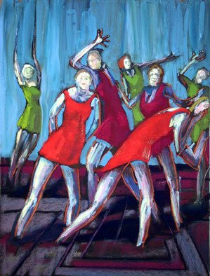 Ric Hall And Ron Schmitt; Red And Green Dancing Girls, 2005, Original Pastel, 18 x 24 inches. Artwork description: 241 Red And Green Dancing Girls is a collaborative work by artists Ric Hall and Ron Schmitt. Their paintings are done while working simultaneously, standing next to one another. Ric and Ron have been painting using this method for over 25 years....