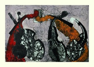 Aliti Ridvan; Dance Violin, 2010, Original Printmaking Etching, 101 x 67 cm.