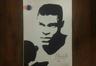 Rifath Fouz; Wrestle Pro, 2019, Original Drawing Ink, 30 x 36 cm. Artwork description: 241 The wonderful portrait drawing of one extraordinary wrestler and boxer  Mohammed Ali . ...