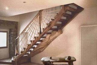 Remo Belletti; Stair, 2007, Original Sculpture Wood, 100 x 270 cm. Artwork description: 241  wood stair ...