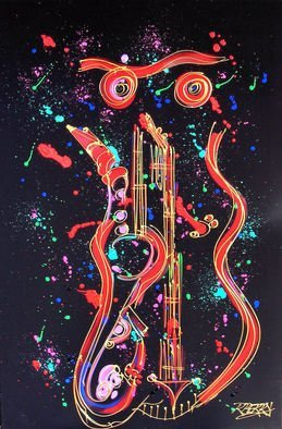 Robert Berry; Jazz Night Owl, 2013, Original Painting Acrylic, 24 x 36 inches. Artwork description: 241    The Art of Jazz on canvas using acrylic and cern relief outliner paint.   ...