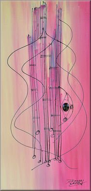 Robert Berry; Ldy Guitar III, 2013, Original Painting Acrylic, 18 x 36 inches. Artwork description: 241   The Art of Jazz on canvas using acrylic and cern relief outliner paint.  ...