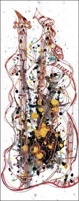 Robert Berry; SaxiGuitar, 2013, Original Painting Acrylic, 12 x 36 inches. Artwork description: 241     The Art of Jazz on canvas using acrylic and cern relief outliner paint.    ...