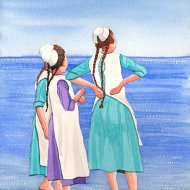 Ralph Patrick, , , Original Watercolor, size_width{Amish_Girls_on_Siesta_Key_Beach-1401738608.jpg} X 10.7 inches