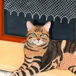 Ralph Patrick, , , Original Watercolor, size_width{Brown_Tabby_in_front_of_Window-1401738698.jpg} X 10.5 inches