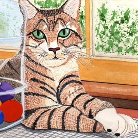 Ralph Patrick, , , Original Watercolor, size_width{Cat_With_Candy_Jar-1401737076.jpg} X 7 inches