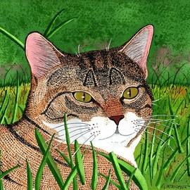Ralph Patrick, , , Original Watercolor, size_width{Cat_in_the_Grass-1401729561.jpg} X 10.5 inches