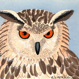 Ralph Patrick, , , Original Watercolor, size_width{Horned_Owl-1401736234.jpg} X 6.2 inches