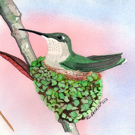 Ralph Patrick, , , Original Watercolor, size_width{Humming_Bird_on_Nest-1401736058.jpg} X 7.5 inches