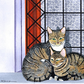 Ralph Patrick, , , Original Watercolor, size_width{Mother_and_Kitten_in_Window-1401738684.jpg} X 10 inches