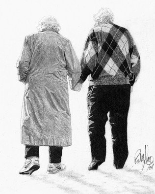 Robb Scott; Hand In Hand, 2001, Original Drawing Pencil, 8.5 x 11 inches. Artwork description: 241  Of all my pencil drawings this one taught me the most about life. These are my grandparents who were separated for most of their married life and lived in different provinces. My grandmother, who I grew up with, passed away from Alzheimer's after a three year ...
