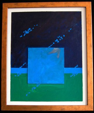 Robert Davis; Recollection, 1979, Original Painting Acrylic, 17 x 21 inches. Artwork description: 241 Abstract collage on illustration board explores my interest in color and texture, and how they influence one another.  In this painting, dark blue and grass- green backgrounds are separated by a horizontal band of a lighter blue.  A blue collage square adds depth and texture.  The diagonal ...