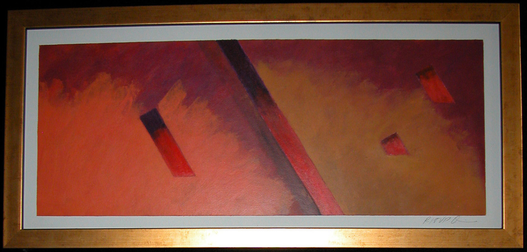 Robert Davis; Unaware, 1979, Original Painting Acrylic, 27 x 13 inches. Artwork description: 241 Abstract painting on illustration board explores my interest in color and texture, and how they influence one another.  Two fields of smokey red, ocher and orange are bisected by a diagonal stripe of red fading to black.  Three smaller red to black shapes tie the two fields ...