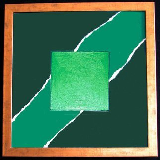 Robert Davis; Without, 1979, Original Painting Acrylic, 17 x 18 inches. Artwork description: 241 Abstract on illustration board explores my interest in color and texture, and how they influence one another and the viewer.  In this painting a dark green background is overlaid with a strip of paper painted a lighter shade of flat green and torn to create contrast and ...