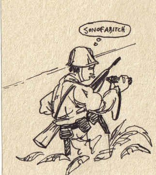 Robert Bledsaw; A Near Miss, 1979, Original Drawing Pen, 3 x 5 inches. Artwork description: 241 A Korean War Soldier, possibly a Forward Observer nearly gets killed. ...