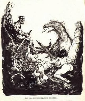 Robert Bledsaw; The King And The Griffin ..., 1986, Original Drawing Pen, 8 x 10 inches. Artwork description: 241 An attempt at the Frank Frazetta style. A weary King listens as a Griffin states his position, while a vixen awaits the outcome.Portions of the drawing was damaged and later repaired....