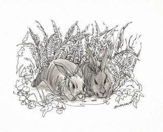 Robert Bledsaw; Two Sleepy Rabbits, 1985, Original Drawing Other, 10 x 8 inches. Artwork description: 241 Inked line drawing with shading wash, on regular white paper. ...