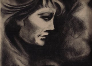 Robert Bledsaw; Woman In Shadows, 1989, Original Drawing Charcoal, 12 x 9 inches. Artwork description: 241 Inspired by a woman sitting in a cafe, behind glass at night. ...