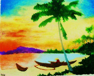 Roberto Prusso; Mindanao Sunset, 2010, Original Painting Ink, 9 x 12 inches. Artwork description: 241  Original on 140 lb Strathmore paper: brush/ ink/ lacquer. Realistic view of Mindanao sunset with lone fisherman.   ...