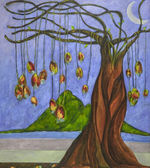 Roberto Rossi; Cashew Tree, 2011, Original Painting Acrylic, 100 x 120 cm. Artwork description: 241  The cashew tree is a gorgeos female tree of this fruit ...