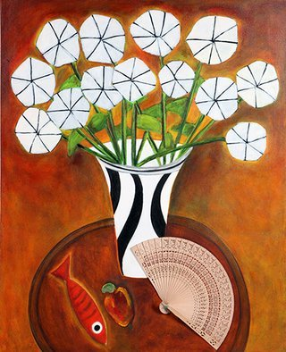 Roberto Rossi; Vase Of Flowers And Fan, 2010, Original Mixed Media, 61 x 76 cm. Artwork description: 241 Vase of flowers and fan is a work with the lightness of the artist s works, with its unique vision and composition of scene of strong colors and harmonics. ...