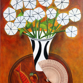 Roberto Rossi, , , Original Mixed Media, size_width{vase_of_flowers_and_fan-1547162219.jpg} X 76 cm