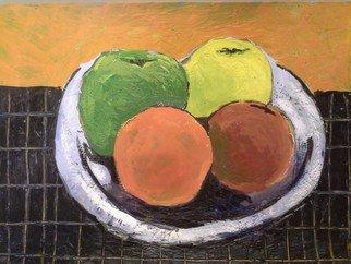 Roberto Trigas; Fruit Bowl, 2016, Original Painting Encaustic, 40 x 30 cm. Artwork description: 241  beautiful colourful fruits in a bowl on top of a black table ...