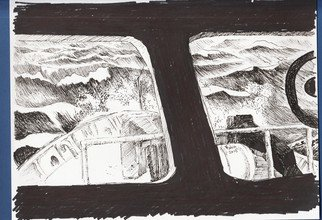 Roberto Trigas; Room With A View, 2016, Original Drawing Ink, 28 x 21 cm. Artwork description: 241   This is part of  a series of paintings and drawing, many of them executed while at sea in the Falkland Islands. They are mementos of my 17 yewars of life as a Navy Officer  ...