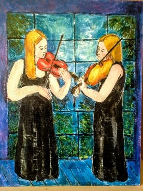 Roberto Trigas; Nocturnal Duet, 2016, Original Painting Encaustic, 55 x 70 cm. Artwork description: 241 Two violinists playing in fron of a window on a starry night...
