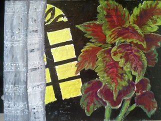 Roberto Trigas, Plant in front of a window, 2016, Original Painting Encaustic, size_width{plant_in_front_of_a_window-1484837478.jpg} X 40 x  cm