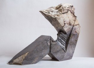 Robin Antar; alien, 2012, Original Sculpture Marble, 23 x 17 inches. Artwork description: 241 carved out of shania marble from Canada, figure, stone, ...