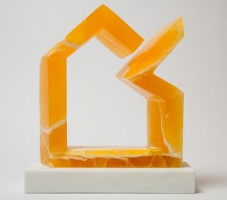 Robin Antar; balancing act 3, 2016, Original Sculpture Stone, 11 x 11 inches. Artwork description: 241 balance, honeycomb calcite, abstract, figure, art...